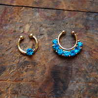 Set of 2 Gold Turquoise Clip On Septum Ring, Turquoise Faux Septum Piercing Rhinestone