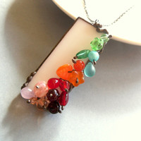 Artistic statement necklace christmas gift stained glass sculpture contemporary jewelry Bead cascade