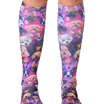 Galaxy Puppy Knee High Socks