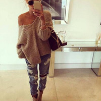 Womens Loose V-Neck Pullover Sweaters Gift