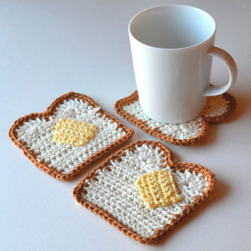 Buttered Toast Coasters, Set of 4 or 6, Adorable Kawaii Housewarming or Hostess Gift, Gift Wrapped in Sheer White Organza Bag