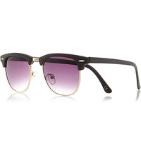 River Island MensBrown wood effect retro sunglasses
