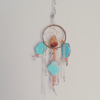 Small Dream Catcher- DreamCatcher- Turquoise Wall Decor- Wall Accent- Bohemian decor- Boho Decor- Home Decor- Hippie- Gypsy- Mermaid Decor