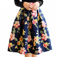 High Waist Pleated Midi Skirt 4 Color Women Floral Print Long Skirts Winter Skirts Faldas largas Saia feminina