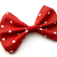 Valentines Day Red Heart Hair Bow
