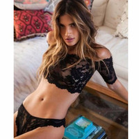 Bra   G-String Women Black Sexy Lace Lingerie Set Babydoll Underwear Nightwear Sleepwear Attractive Tops SM6