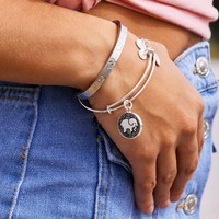 ALEX AND ANI Rosemale Silver Charm Bangle