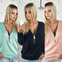 Womens Loose V Neck Zipper Long Sleeve Tee Shirt  In Plus Size