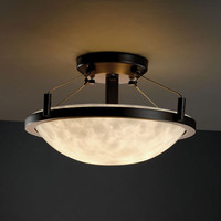 Justice Design Group CLD968035MBLK Clouds Ring 14-InchTwo-Light Matte Black Round Semi-Flush Bowl With Ring - (In Matte Black)