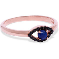 Aamaya By Priyanka - Rose gold-plated, onyx and lapis lazuli ring
