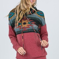 Aztec Cowl Neck Top - Mauve
