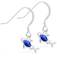 Sterling Silver Earrings with small dangling Sapphire jeweled shark