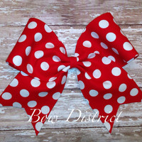 """3"""" Red and White Polka Dot Cheer Bow"""