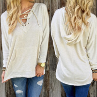 Lace Up Front Hoodie Sweater
