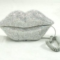 Hot Lips Phone - Silver Rhinestone