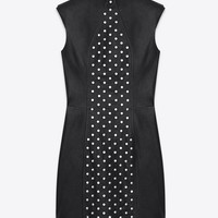 Sleeveless Studded Mini Dress in Black Leather and Silver-Toned Metal Studs