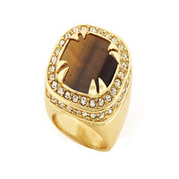 14K Gold Tone Tiger Eye Gemstone Ring