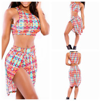 Multi Color Geometric Print Cropped Top And Slit Skirt Set