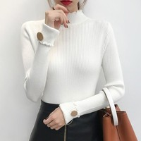 DeRuiLaDy Sexy Turtleneck Women Sweater High Elastic Solid Casual 2019 Fall Winter Fashion Sweaters Womens Slim Knitted Pullover