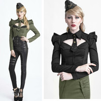 Punk Rave Uniform shirt Top with puff sleeves military style,cosplay,visual kei