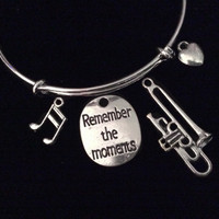 Remember The Moments Trombone Expandable Charm Bracelet Orchestra Music Graduation Gift Silver