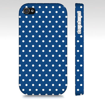 Blue and White Polka Dot Iphone 4 or Iphone 4s Case  - Premium Slim Fit Iphone 4 or Iphone 4s Cover