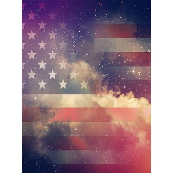 American Flag Shrouded in Stars and Clouds Patriotic Backdrop - 15209