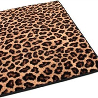 6'x8' Indoor Cut Pile Leopold Leopard Print Area Rug for Home with Premium BOUND Polyester Edges.