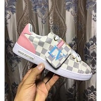 Alwayn LV Louis Vuitton Trending Woman Stylish Casual Flats Sport Shoes Sneakers White Plaid I-ALS-XZ