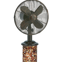 Table Fan/Light - Mosiac Glass Metropolitan Bronze