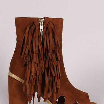 Suede Zipper And Fringe Chunky Heeled Ankle Boots