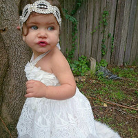 Old World Glam Vintage Lace Girls Headband Designed Match Dollcake Dress - toddler to Adult Sizes Available