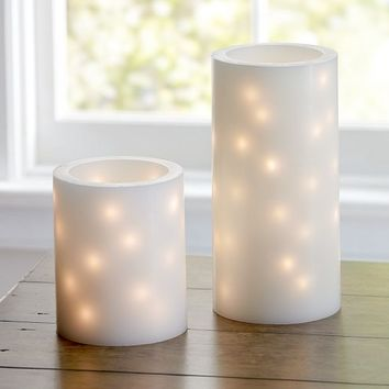 FLAMELESS EMBEDDED STRING LIGHT PILLAR CANDLES