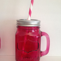 Pink Glass Mason Jar Tumbler, Mason Jar Cup with Handle, Pink Mason Jar, Pink Glass, Mason Jar Cup, Straw Cup, Glass Tumbler, Pink Cup, Pink