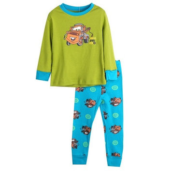 Boys Girl Kids Sleepwear Nightwear 2pcs Long Sleeve Tops+Pants Pyjama Set 2-8Y [8270459841]