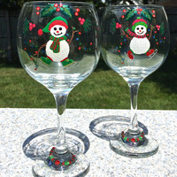 Hand Painted Christmas Wine Glasses with Snowmen and Wine Glass Charms, Holiday Wine Glasses, Christmas Gifts, Snowman Wine Glasses