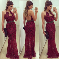 Backless Lace Spaghetti Strap Red One Piece Dress