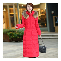 Long Down Coat Plus Size Big Fur Collar Slim Thick    red   S