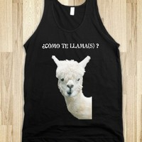 ♥ ♥ ♥ Como Te Llama(s) ? ♥ ♥ ♥ Summer Tank Top with funny quote by Monika Strigel for SKREENED.COM