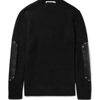 Givenchy - Leather Elbow-Patch Wool Sweater