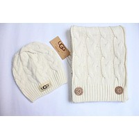 "Tiktoki1 ""UGG"" Autumn Winter Classic Popular Women Men Knit Warm Hat Cap Scarf Two Piece Set White"