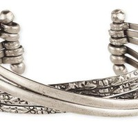Silver Smooth & Embossed Line Cuff Bracelet