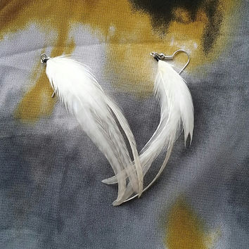 White Grizzly Feather Earrings