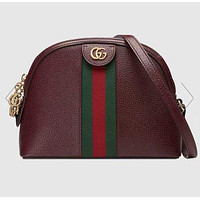 GUCCI Ophidia Tide brand women's wild shell bag shoulder Messenger bag Burgundy