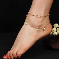 2pcs/lot Bohemian Bead Chain Women Anklet Foot Chain Ladies Girls Anklet Ankle Bracelet Jewelry Fashion Beach Foot Jewelry Gift