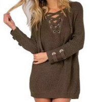 Brown Plunge Neck Lace Up Front Long Sleeve Knit Mini Dress