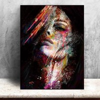 Canvas Painting Wall Art Pictures decoration for living room prints colorful woman on canvas no frame home decor  Wall poster
