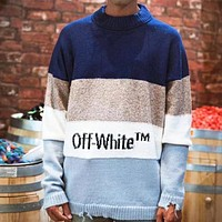 Off White New fashion letter print stripe long sleeve top sweater