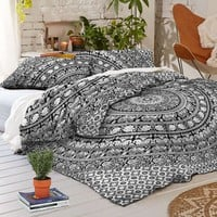 NEW Boho Hippie Mandala Black Tapestry Full Duvet Cover SET