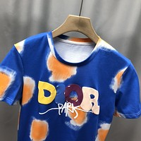 Dior autumn and winter new sunflower art wash color three-dimensional letter LOGO short-sleeved T-shirt